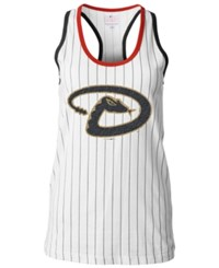 5Th And Ocean Women's Arizona Diamondbacks Pinstripe Glitter Tank Top White