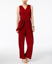 Ny Collection Metallic Crinkled Jumpsuit Sundried Tomatoes