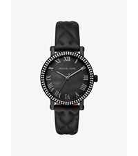 Norie Pave Quilted Leather Watch Black