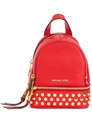 Michael Michael Kors Rhea Studded Backpack Women Leather One Size Red