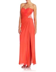 Xscape Evenings Side Cutout Embellished Gown Neon Coral