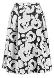 Reiss Drew Pleated Skirt Black Off White