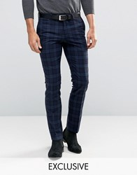 Noose And Monkey Super Skinny Trousers In Tartan With Stretch Navy