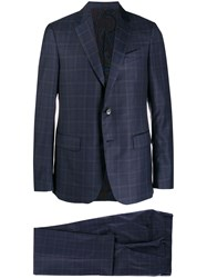 Etro Chequered Two Piece Suit Blue