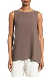 Eileen Fisher Women's Long Bateau Neck Silk Shell Cobblestone