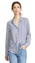 Ayr The Go To Button Down Navy Stripe