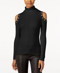 Xoxo Juniors' Embellished Cold Shoulder Sweater Black