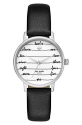 Kate Spade Women's New York Metro Wine And Dine Leather Strap Watch 34Mm Black White Silver