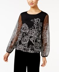 Alfani Embroidered Mesh Blouson Top Only At Macy's Dark Silver Lurex