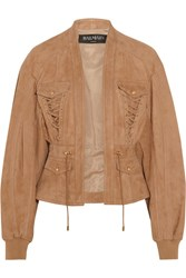 Balmain Lace Up Suede Jacket Sand