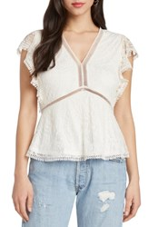 Willow And Clay Contrast Lace Peplum Top Ivory