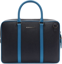 Burberry Navy And Cobalt Pebbled Leather Newburg Briefcase