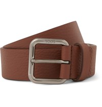 Tod's 3.5Cm Brown Full Grain Leather Belt