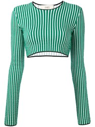 Ports 1961 Striped Cropped Sweater Women Cotton S Green
