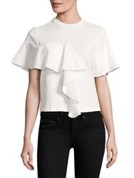 Kendall Kylie Ruffled Crewneck Tee Bright White