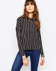 Only Pape Long Sleeve Stripe Shirt Night Sky With Strip Navy