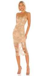 Nookie Vanity Midi Dress In Metallic Gold.