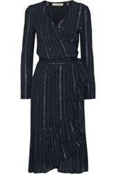 Vanessa Bruno Woman Jaine Metallic Striped Gauze Wrap Dress Navy