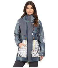 Burton Lamb Riff Parka Denim Print Women's Coat Blue