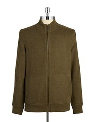 Black Brown Cotton Zip Up Sweater Dark Olive