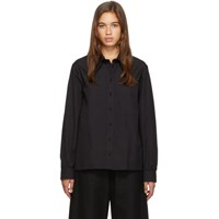 Christophe Lemaire Navy Pointed Collar Shirt