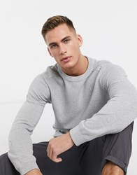 Jack And Jones Premium Waffle Textured Knitted Jumper In Grey