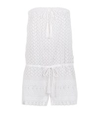 Melissa Odabash Crochet Lace Bandeau Playsuit Female White