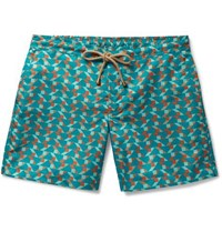 Thorsun Titan Slim Fit Mid Length Printed Swim Shorts Green