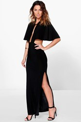 Boohoo Keyhole Detail Cape Maxi Dress Black