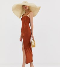 River Island Cami Dress With Side Split In Rust Red