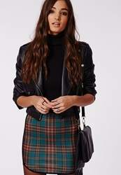 Missguided Tartan Print Curve Hem Mini Skirt Green