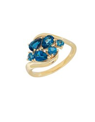 Lord And Taylor Swiss Blue Topaz London Blue Topaz 14K Yellow Gold Ring
