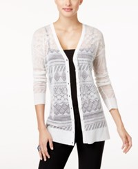 Cable And Gauge Cupio By Pointelle Knit Cardigan White