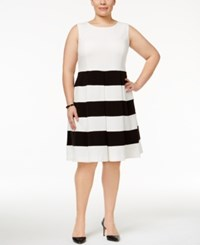 Nine West Plus Size Striped Fit And Flare Dress Lily Black