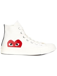 Comme Des Garcons Play Hi Top Trainers White