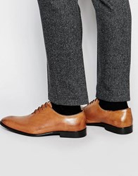 Asos Oxford Shoes In Rich Tan Leather With Burnishing Tan