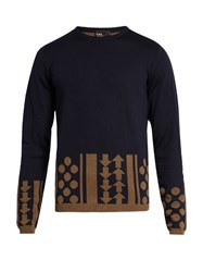 Kolor Geometric Intarsia Crew Neck Wool Sweater Navy