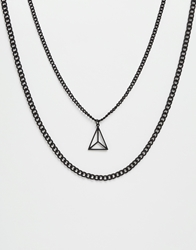 Asos Geometric Necklace Pack With Triangle Cage Pendant Black