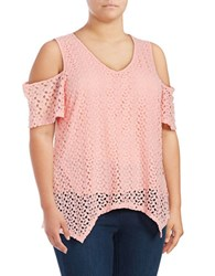 Chelsea And Theodore Plus Cold Shoulder Lace Top Pink