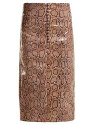 Hillier Bartley Python Effect Faux Leather Pencil Skirt Pink Print
