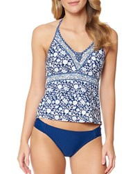 Jessica Simpson Patched Up Floral Print Halterneck Tankini Top Peri
