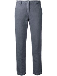 Massimo Alba Cropped Trousers Women Cotton Linen Flax 44 Grey