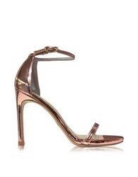 Stuart Weitzman Nudistsong Rose Gold Tone Laminated Leather High Heel Sandals Pink