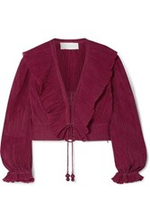 Zimmermann Suraya Ruffled Lace Up Crinkled Ramie And Cotton Blend Top Burgundy