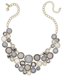 Inc International Concepts Gold Tone Gray Stone Bib Necklace Only At Macy's