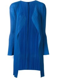 Pleats Please By Issey Miyake Pleated Cardigan Blue