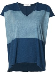 Rag And Bone V Neck Loose Fit T Shirt Blue