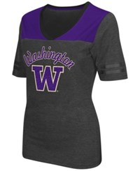 Colosseum Women's Washington Huskies Twist V Neck T Shirt Charcoal Purple