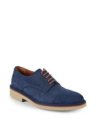 Canali Suede Derby Shoes Dark Blue