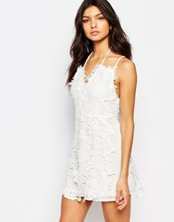 Foxiedox Clover Mini Dress With Lace Daisy Detail White